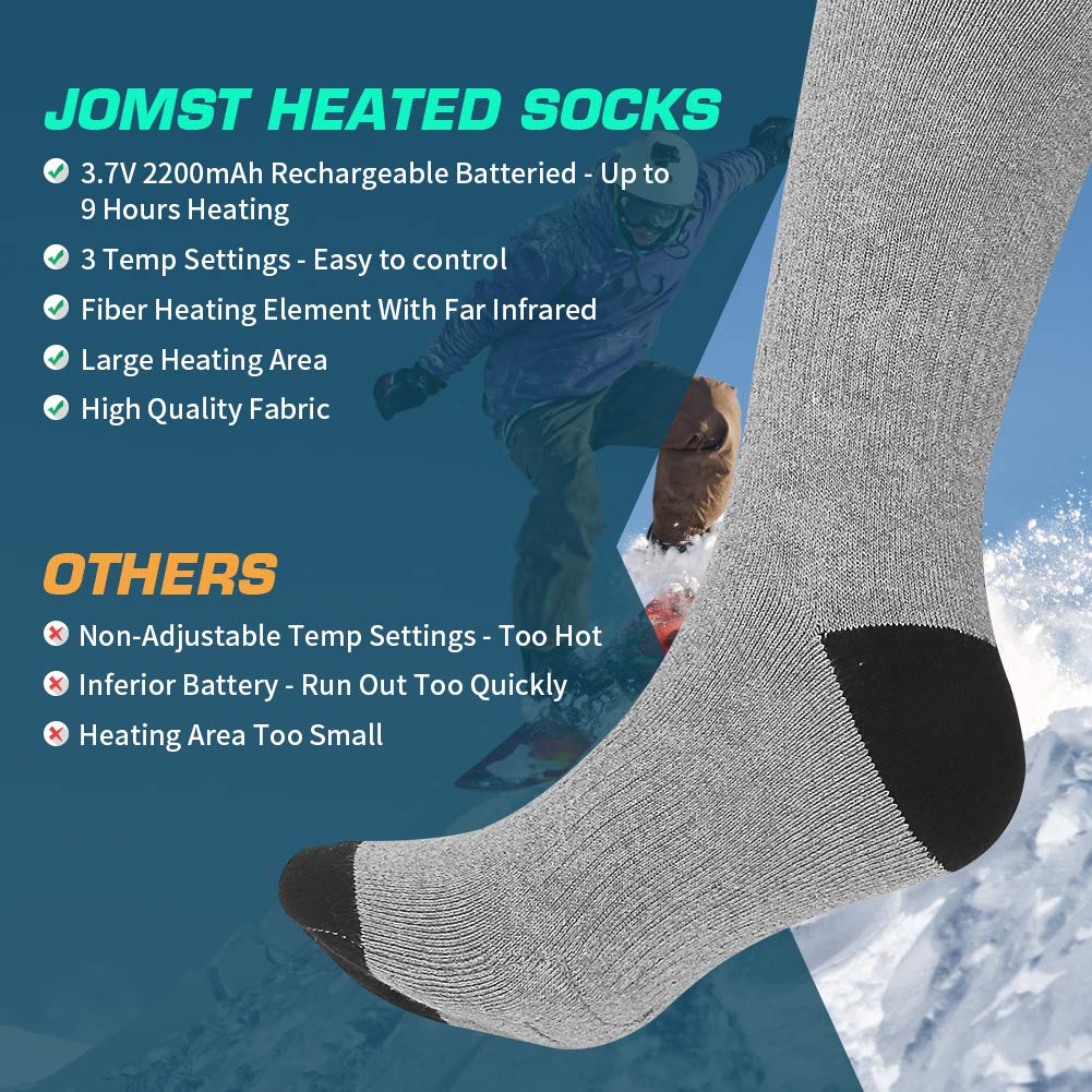 Driving Camping Riding Warm Winter Socks Winter Outdoor Sport 3 Heating Settings Thermal Sock for Men /& Women Jomst Electric Heated Socks Rechargeable 3.7V 2200mAh Battery Powered