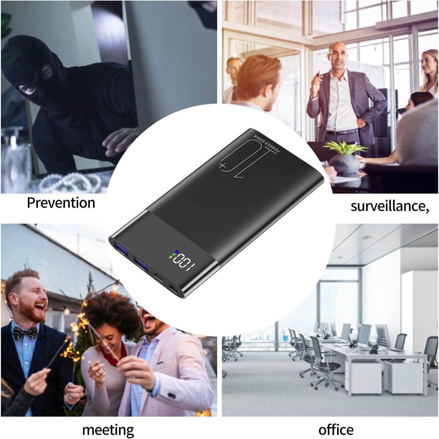 FiveSky HD 4K Cam/éra espion cach/ée Wifi Mini DV D/étection de mouvement de vision nocturne /à distance R/éel Time Vid/éo 1200 m/égapixels Power Bank 10000 mAh Appareil photo compact portable pour la maison