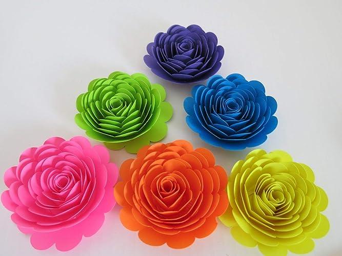 Amazon Neon Rainbow Roses 3 Paper Flowers Set Of 6 Unicorn