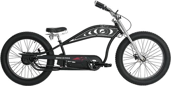 Micargi Cyclone 26x4.0 48V Electric Fat Tire Beach Cruiser Bike Matte Black
