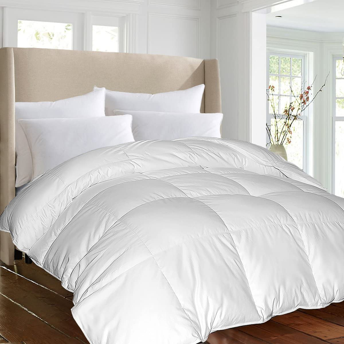 Blue Ridge Home Fashions Luxury 1000 Thread Count Pima Cotton Down Alternative Comforter - Year Round, All Season Cover, King, White