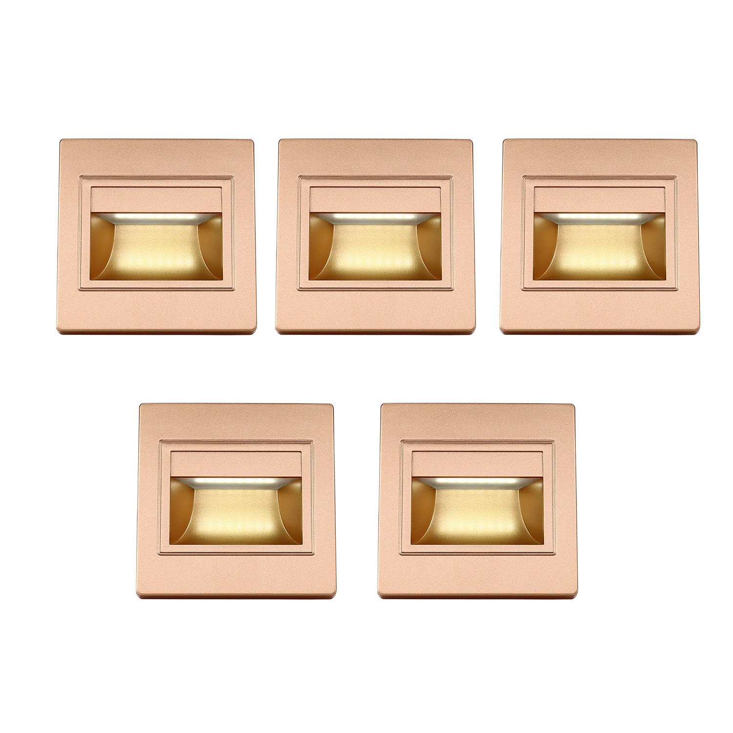 BOLXZHU 5-Pack LED Recessed Stair Light, LED Corner Wall Lamp 85-265V, Embedded LED Stairs Step Night Lighting Hallway, Stairs, Closet, Bedroom