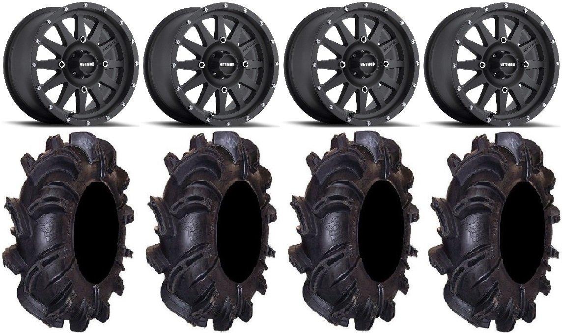 Bundle - 9 Items: Method Standard 14'' Wheels Black 30'' Silverback Tires [4x137 Bolt Pattern 10mmx1.25 Lug Kit]