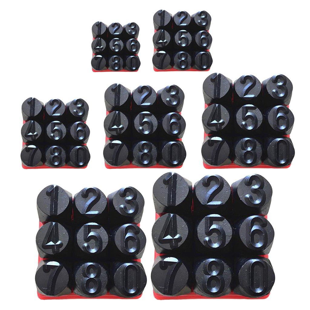 Number 3mm Black MagiDeal Hardness Carbon Steel Number and Letter Hand Punch Metal Stamp Set for Mold Jewel Making Die