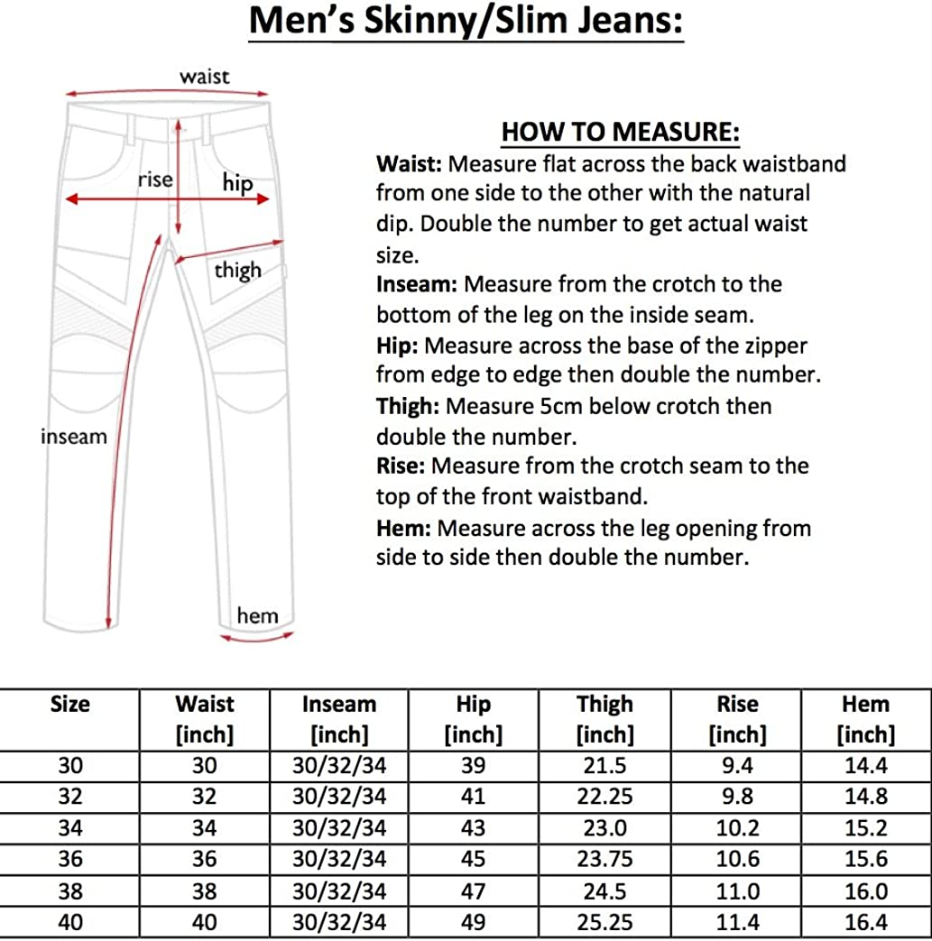 Jet Black Mens Motorcycle Skinny Slim FIT Denim Jeans with Dupont/™ Kevlar/® Lining