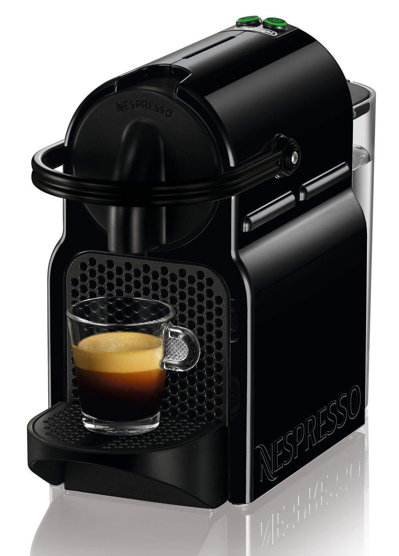 Nespresso De'Longhi Inissia EN80.B - Cafetera monodosis de cápsulas Nespresso, 19 bares, apagado automático, color negro, Incluye pack de bienvenida con 14 cápsulas