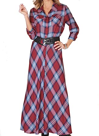 ad74ec80be6411 AmeriMark Plaid Shirt Dress at Amazon Women's Clothing store: