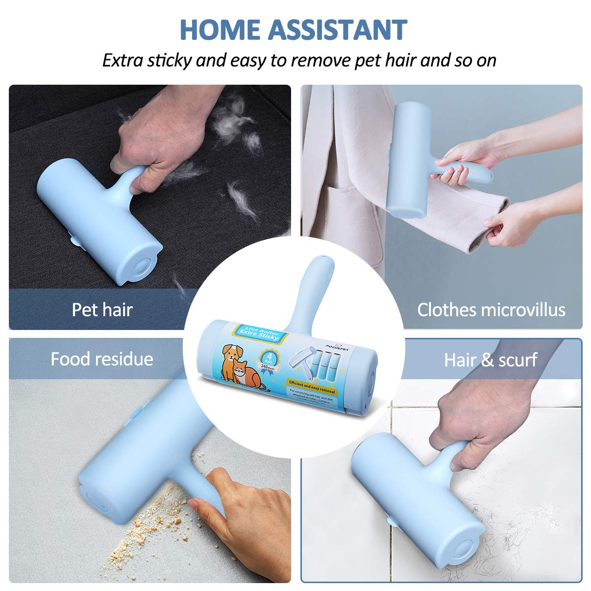 FOCUSPET Pet Hair Remover Rollers Laundry and Furniture Removal Extra Sticky Lint Removal Total 240 Sheets Comfortable Grip Clothes Lint Roller Brush for Dog /& Cat Hair 1 Lint Roller + 3 Refills
