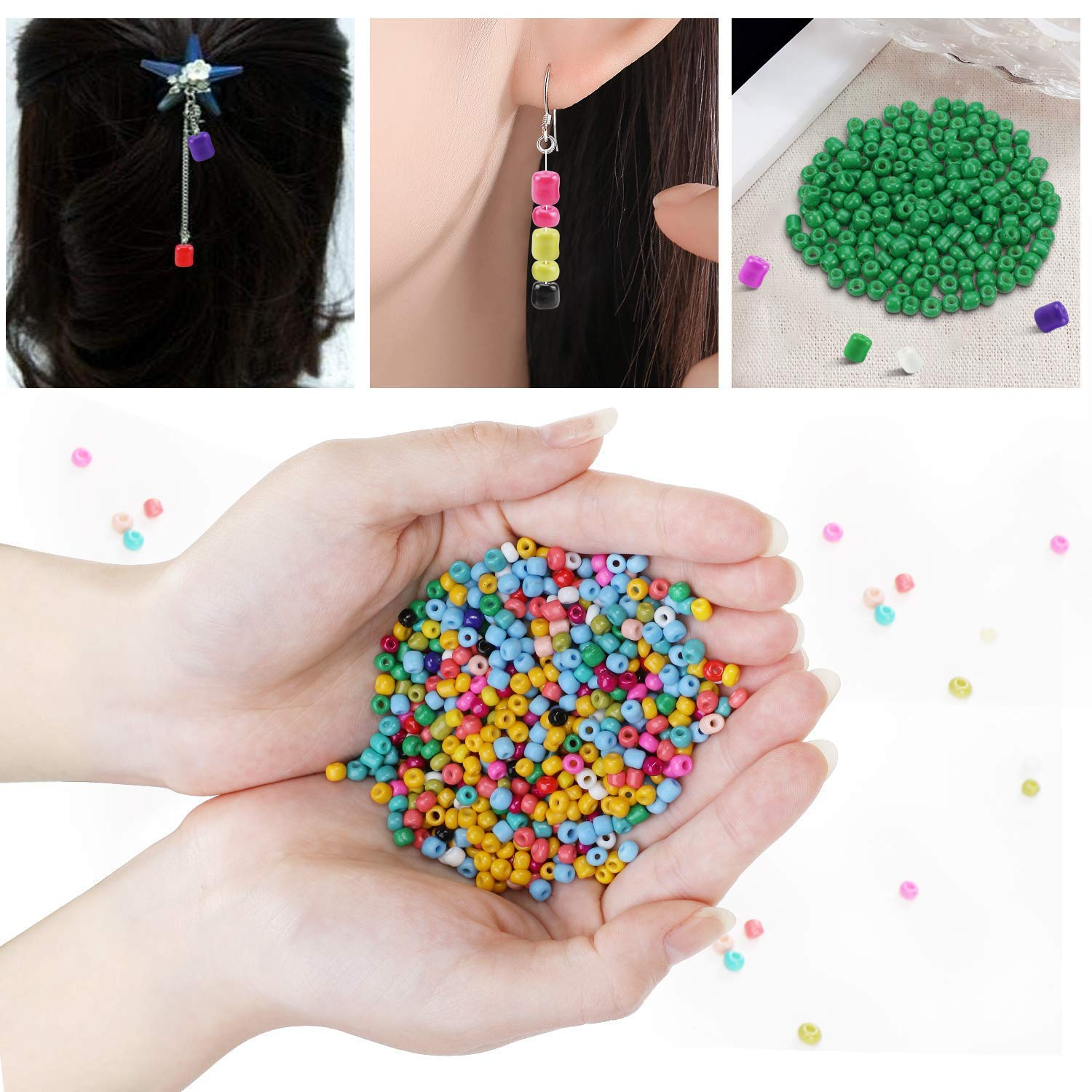 24 Colors Small Pony Beads Assorted Kit Opaque Colors Lustered Loose Spacer Beads DIY Crafting 2mm Round Hole 0.6mm for Jewelry Making Phogary 24000pcs Glass Seed Beads