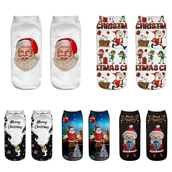 Amazon.com: DeemoShop Women 3D Christmas Socks Unisex Cartoon Elk Snowman Santa Sock Low Cut Ankle Printed Christmas Socks Calcetines: Kitchen & Dining