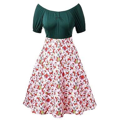 0a75b4e25cf8 Fashion Hoody Women Off Shoulder Patchwork Swing Dress Christmas Santa  Claus Print Vintage Flared(Green