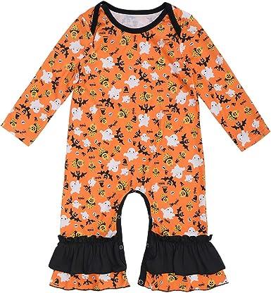 Baby Girl 1st Halloween Costume Fancy Dress Long Sleeve Romper Pumpkin Outfit