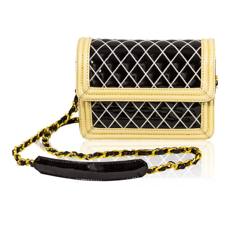 1fb28f8a338 Valentino Orlandi Italian Designer Black/White Quilted Leather Mini ...