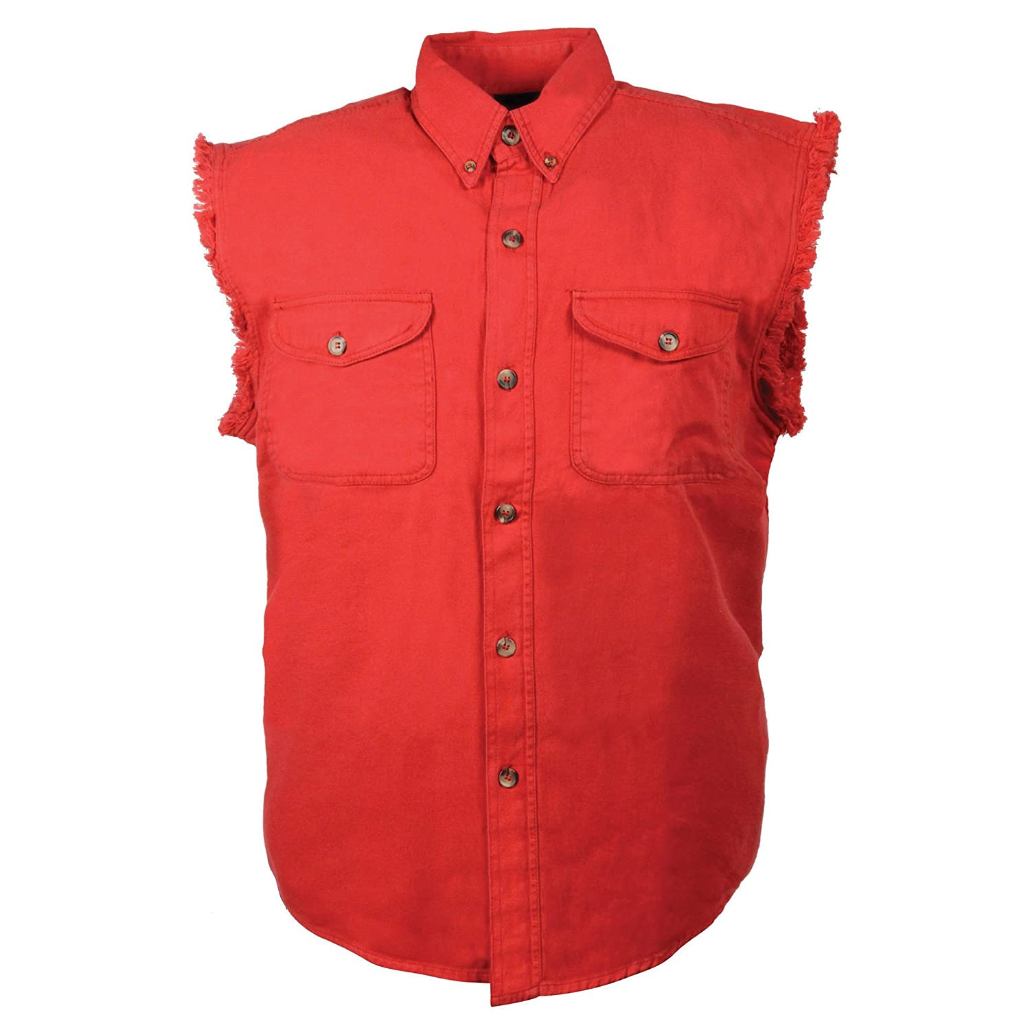 Mens Biker Riding Red Cotton Cut Off Half Sleeveless Shirt with Frayed Sleeves