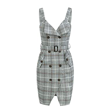 Strap Plaid midi Winter Dress 2018 OL Split sash Pocket Casual V Neck Button high Waist Dress Vestidos at Amazon Womens Clothing store: