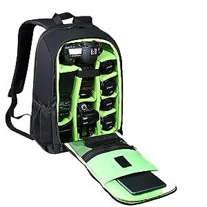 "Estarer SLR/DSLR Camera Backpack for Nikon Canon Sony Digital Lens GoPro Accessories 15.6"" Laptop w/Rain Cover Camera Bag"