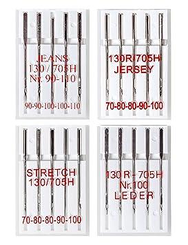 20 Agujas para Máquinas de Coser (Jersey, cuero, elásticos y tejido vaquero): Amazon.es: Hogar