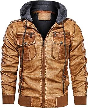 メンズコート・ジャケット-ラージサイズのフード付きレザーメンズウォッシュドレトロレザージャケットとベルベットのオートバイジャケット