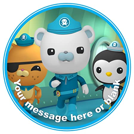 ND1 The Octonauts Birthday Personalised Round Cake Topper Approx 75 Or Smaller On Request Icing Amazoncouk Kitchen Home