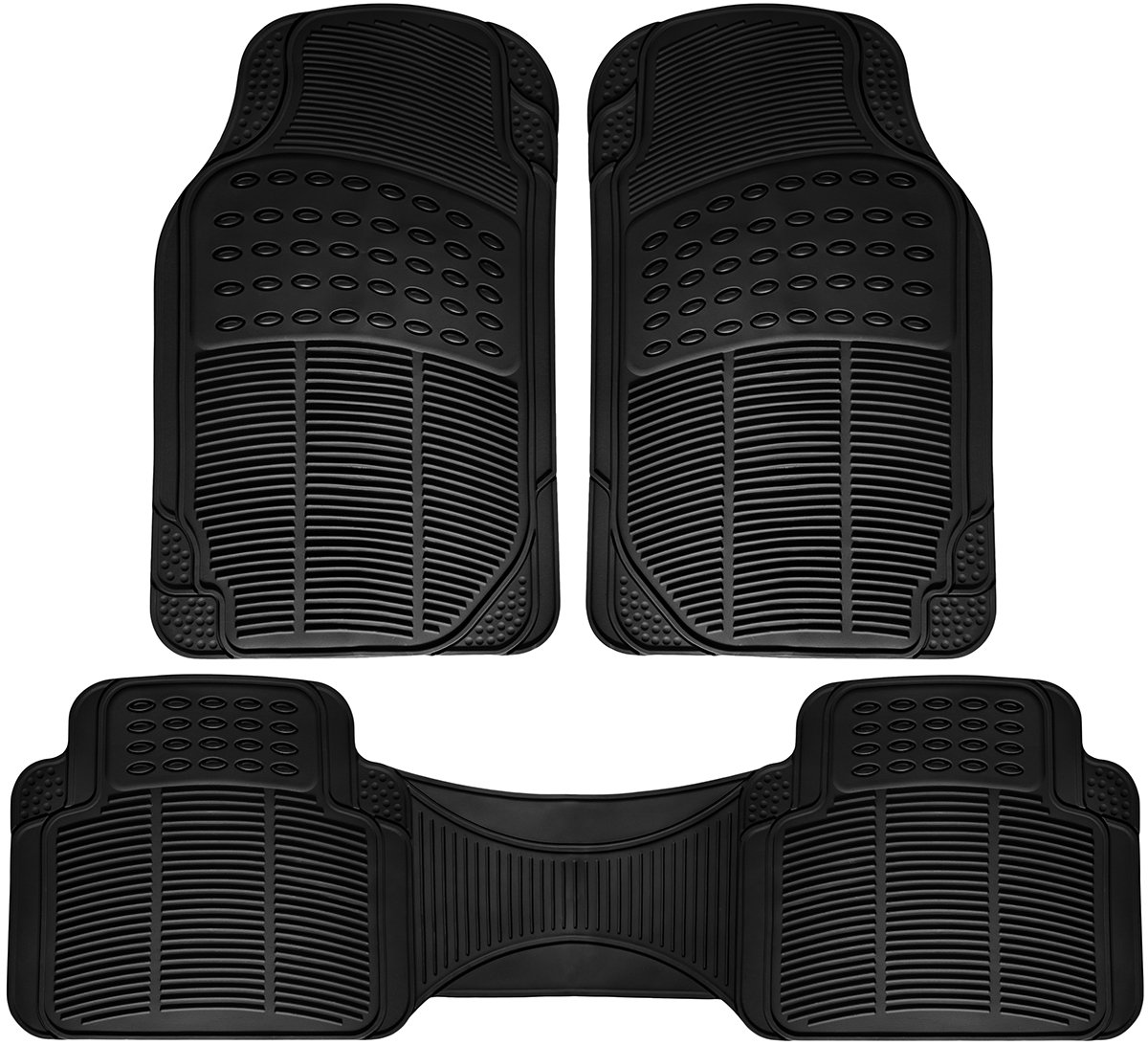 4 Piece Set Rubber-Lined All-Weather Heavy-Duty Protection for All Vehicles Beige OxGord Luxe Carpet-Floor-Mats Set for Car