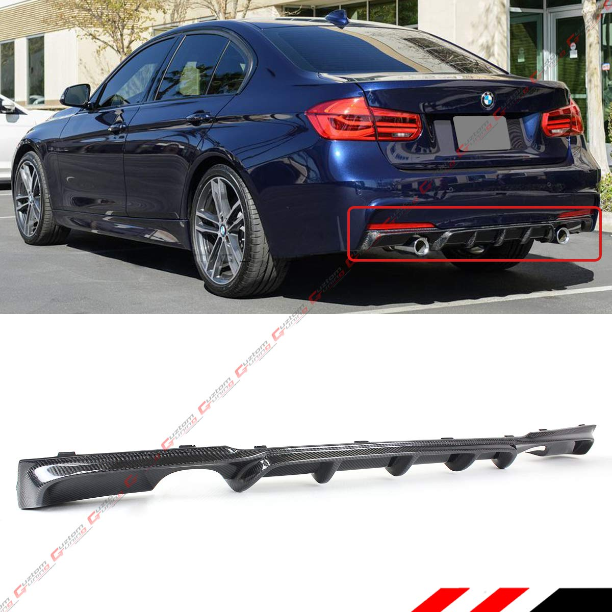 Fits for 2012-2018 BMW F30 F31 Carbon Fiber M Sport MP Style Dual Exhaust Tips Rear Bumper Diffuser