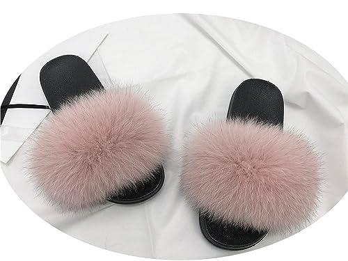 0ecdbf086 Women's Fur Slipper Real Raccoon Fur Fox Fur Slippers Beach Slides Fashion  Style Furry Slides Soft Warm Big Fluffy Fur Shoes,Pink,8.5: Amazon.ca:  Shoes & ...