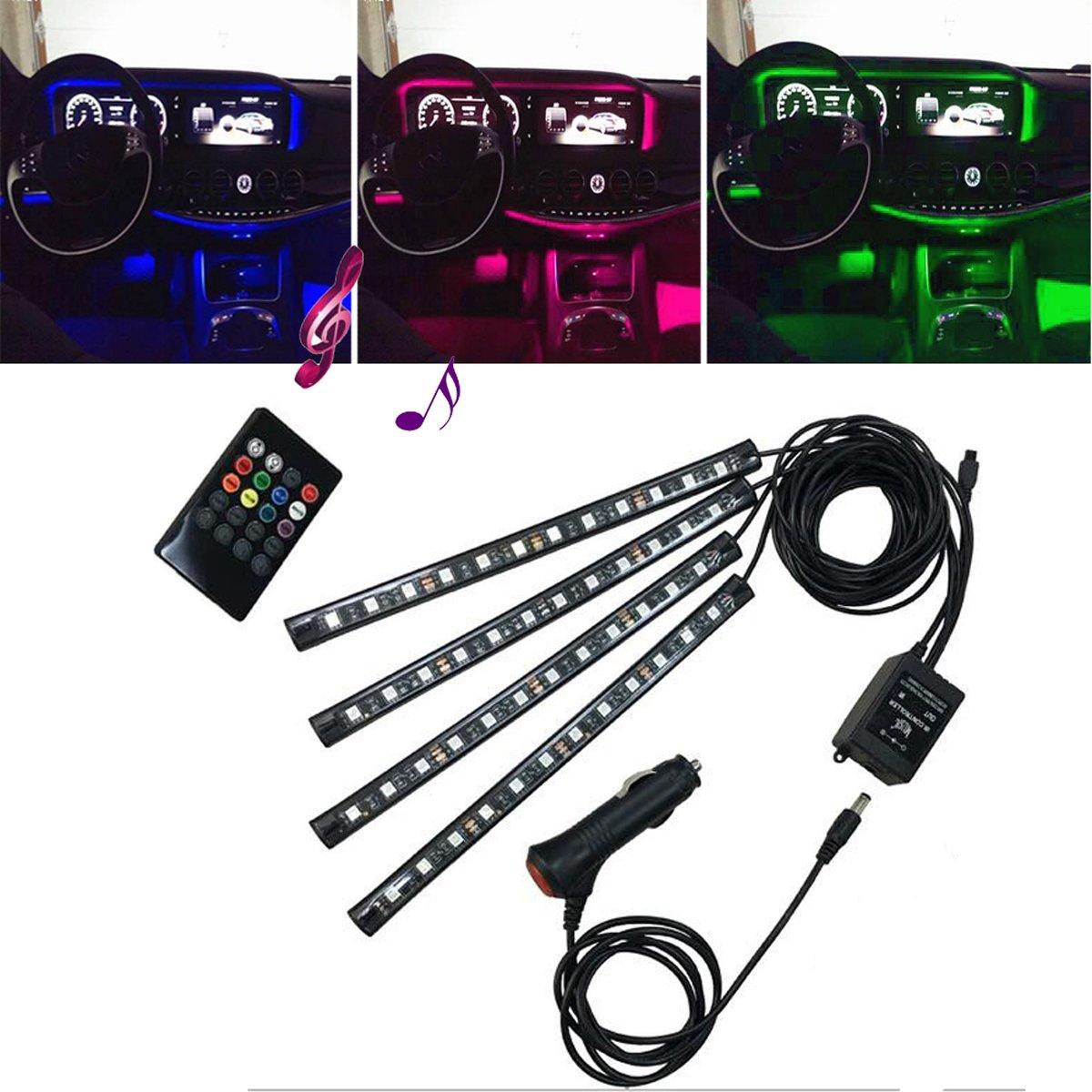 Lononvie Car Interior Lighting Kit Sound Sensor Light,4pcs 8 Color 48LED light,Strip Atmosphere Decorative for Car With Music Sound Active Function and IR Remote Control