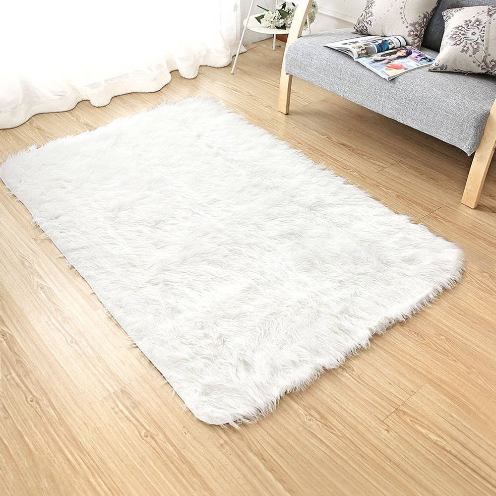 Ojia Deluxe Soft Modern Faux Sheepskin Shaggy Area Rugs Children Play Carpet for Living & Bedroom Sofa (2ft x 3ft, Ivory White)