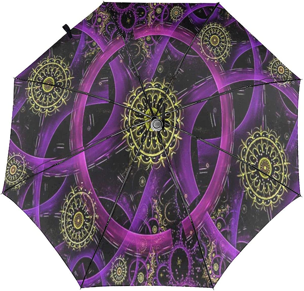 Neon Glowing Circle Geometric Pattern Compact Travel Umbrella Windproof Reinforced Canopy 8 Ribs Umbrella Auto Open And Close Button Customized