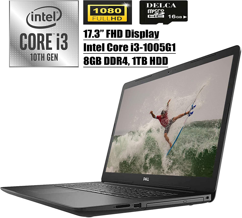 """Dell Inspiron 17 3000 3793 Premium 2020 Laptop Computer I 17.3"""" Full HD Anti-Glare I 10th Gen Intel Core i3-1005G1 (>i5-7200U) I 8GB DDR4 1TB HDD I WiFi HDMI Webcam Win 10 + Delca 16GB Micro SD Card"""