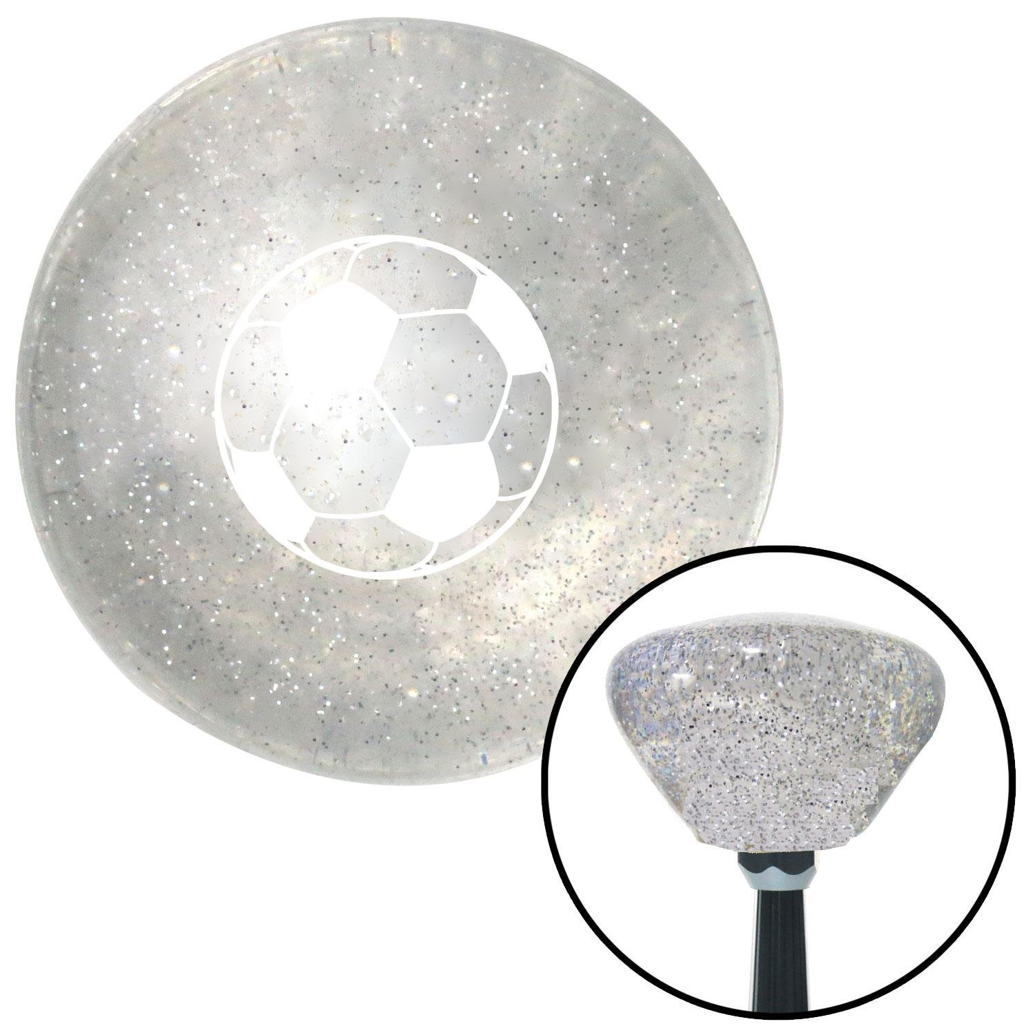 White Soccer Ball American Shifter 163442 Clear Retro Metal Flake Shift Knob with M16 x 1.5 Insert