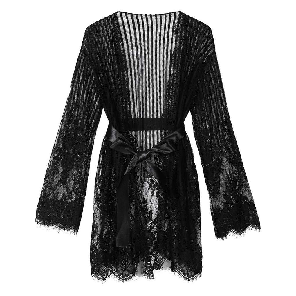 WANQUIY Women's Sexy Lingerie Lace Sleepwear Wrap Accessories Perspective Underwear Nightwear Robe Black