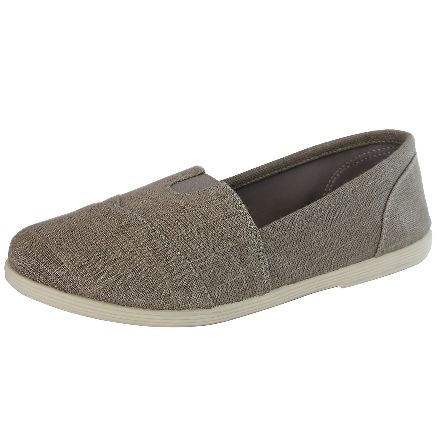 DailyShoes Women's Extra Cushioned Casual Flats - Ultra Breathable - Slip Resistant - Perfect Daily Shoes Slip-On Working Sneaker Shoes, Charcoal Linen, 7 B(M) US