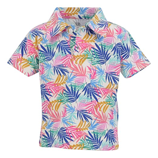 f6913f6a359180 Unique Baby Boys Palm Leaf Print Short Sleeve Collared Polo Shirt (2t) White