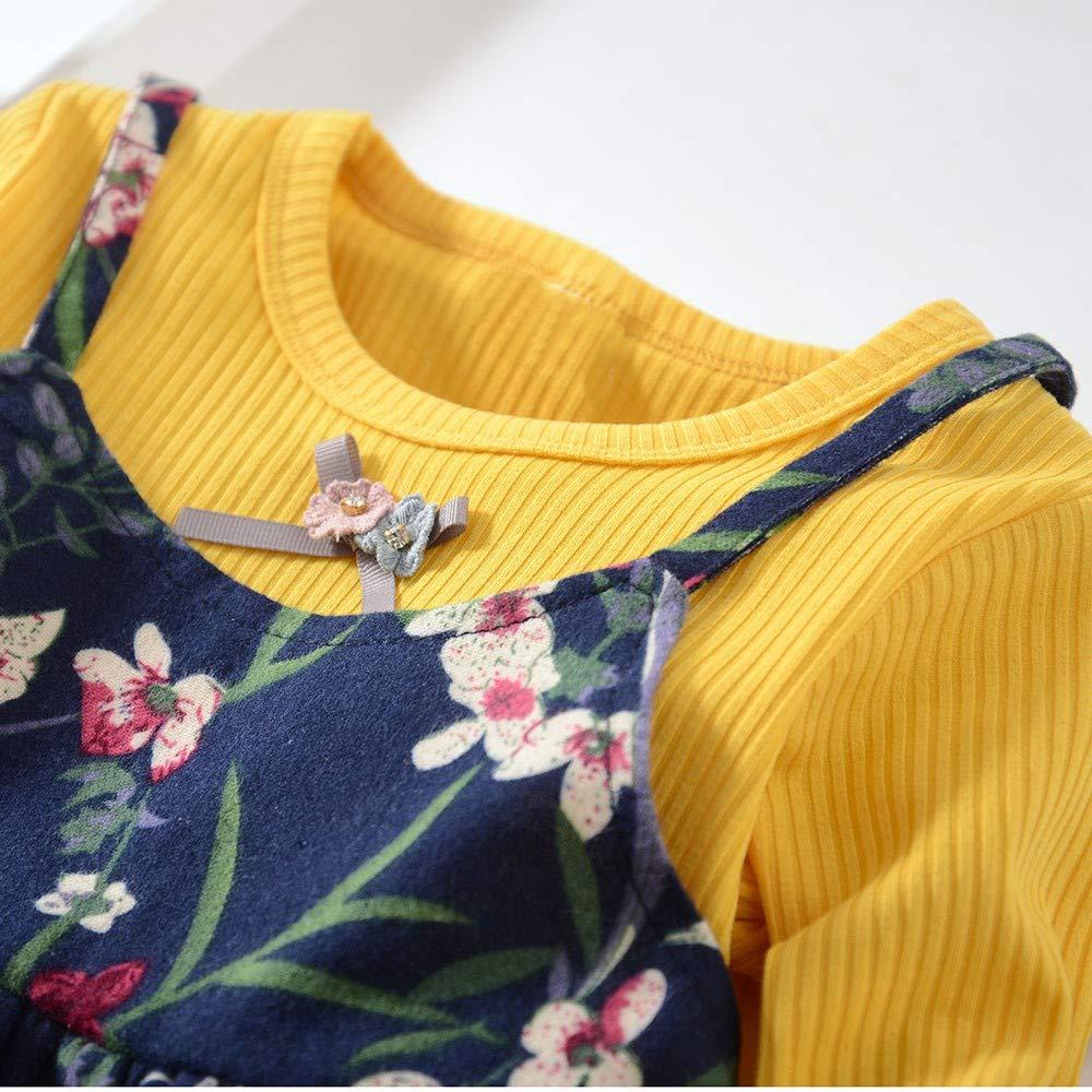 LANSKIRT Ropa para niñas Recién Nacido Infantil bebé Otoño e Invierno Vestido Estampado de Flores del Arco Princesa Vestido de Manga Larga Jumpsuit: ...