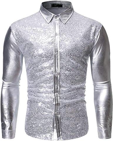 I613 - Camisa de Vestir para Hombre, Manga Larga con Lentejuelas, Botones en los años 70, Disco, Disfraz, Disfraz, Moda - Plateado - Large: Amazon.es: Ropa y accesorios
