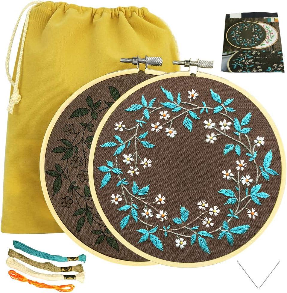 Kit de Bordado para Adultos Flor Blanca Algodón de Hoja Azul Bordado de Bricolaje con Patrón, Libro de Instrucciones, Hilo, Aguja, 1 Aro, 1 Bolsa: Amazon.es: Hogar