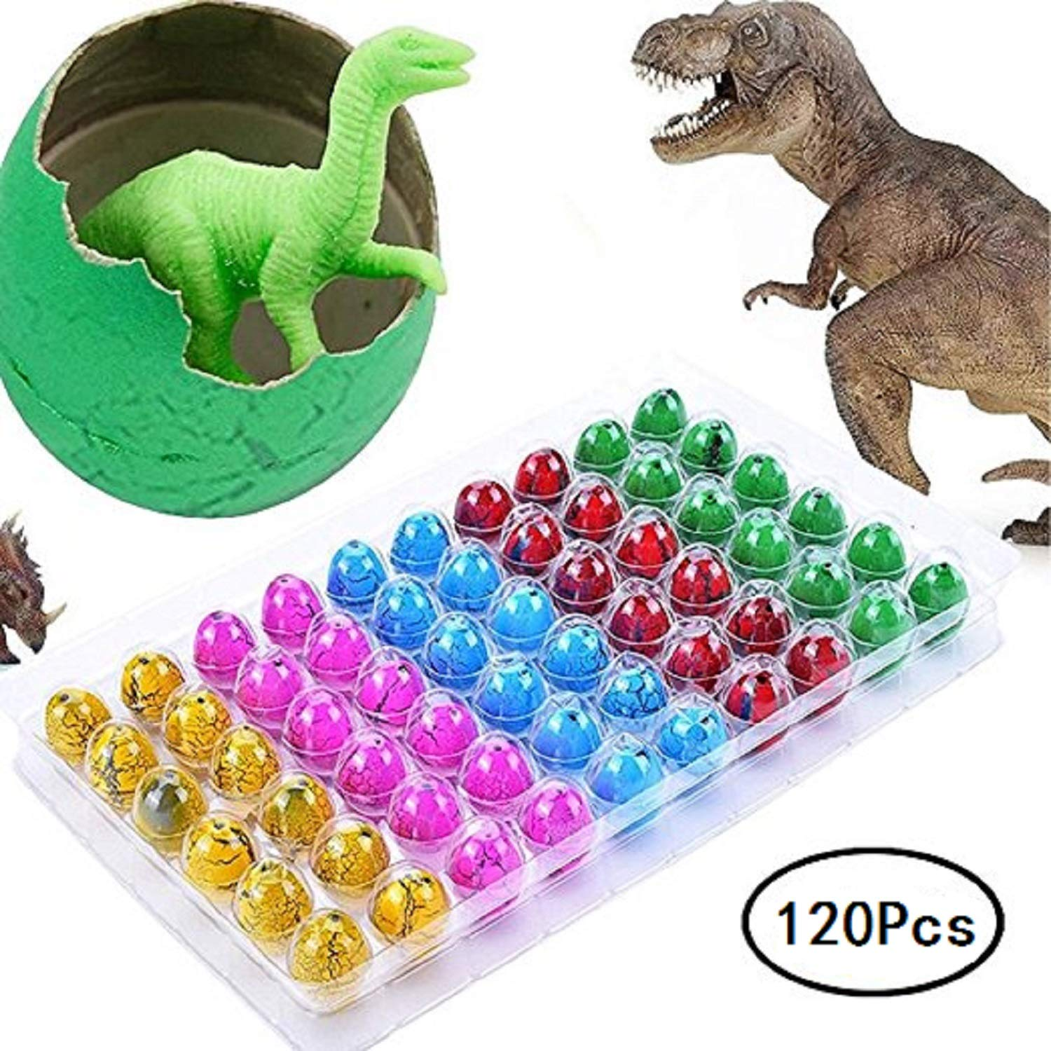 YanXi7 120 Pcs Novelty Hatching Dinosaur Toys , Hatch and Grow Easter Dinosaur Eggs That Hatch in Water for Kids Party Supplies