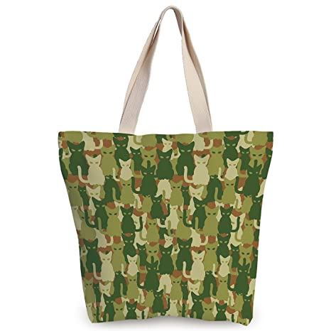 f3f9da20b iPrint Stylish Canvas Tote Bag,Camo,Soldier Kittens Protective Cat Army  Theme Defense Jungle