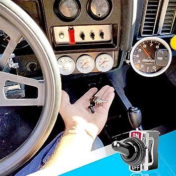 Shuny 6 Stück Kippschalter Schalter Wippschalter Ac250v 10a Schüttelkopf Wippschalter 2 Pin Spst Ein Aus Schalter Metallschläger Hochleistungs Flachfuß Kippschalter Für Auto Auto Truck Boat Auto