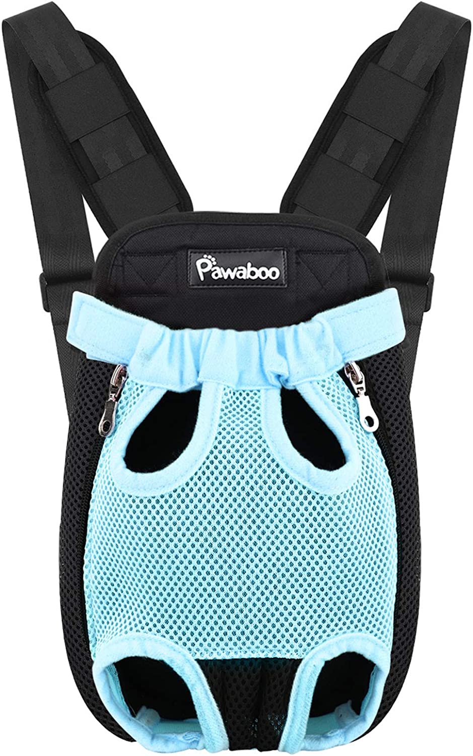 Legs Out PAWABOO Pet Carrier Backpack Adjustable Pet Front Cat Dog Carrier Backpack Travel Bag Easy-Fit for Traveling Hiking Camping for Small Medium Dogs