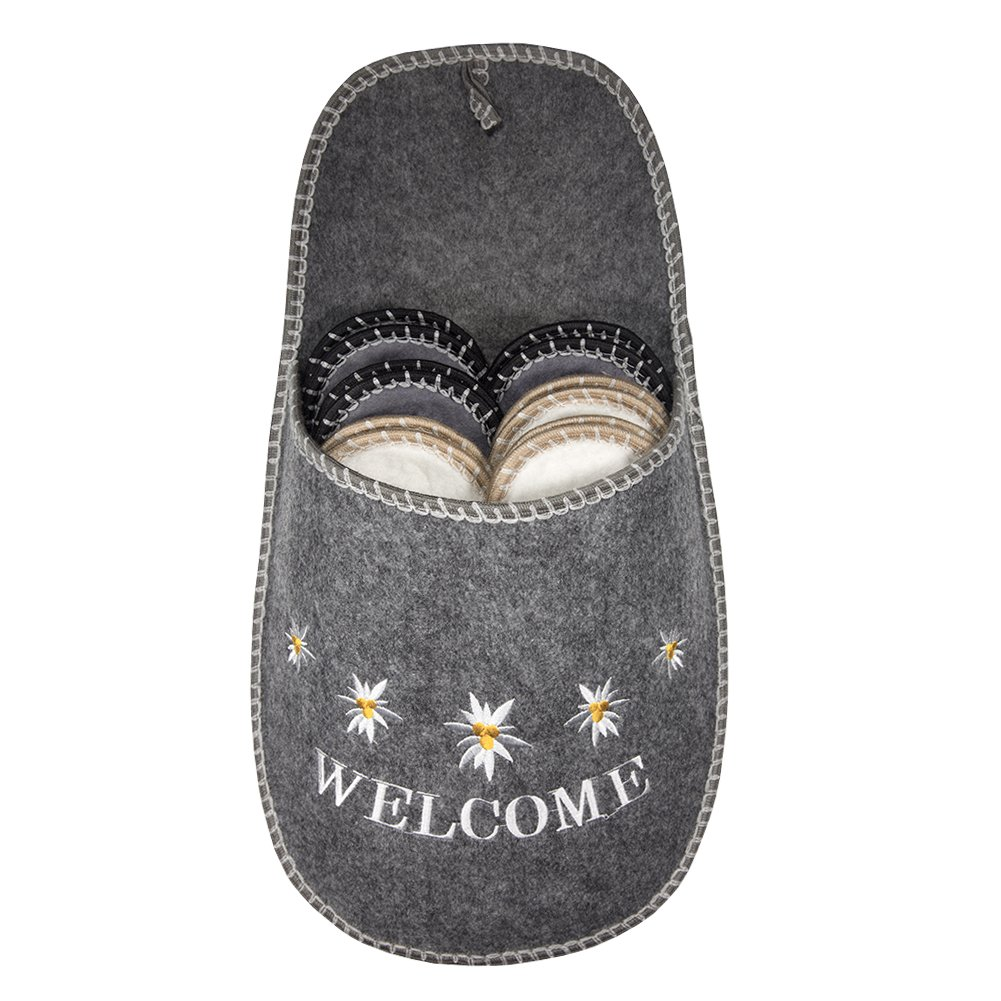 SLIPPERTREND Fleece Felt Close Toe 6 Pairs Welcome Flowers Non Slip Indoor Family House Guest Slippers Set Grey