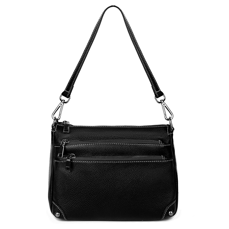 Genuine Leather Purse Women's Triple Zipper Organizer Purse Crossbody Shoulder Bag From YALUXE Black