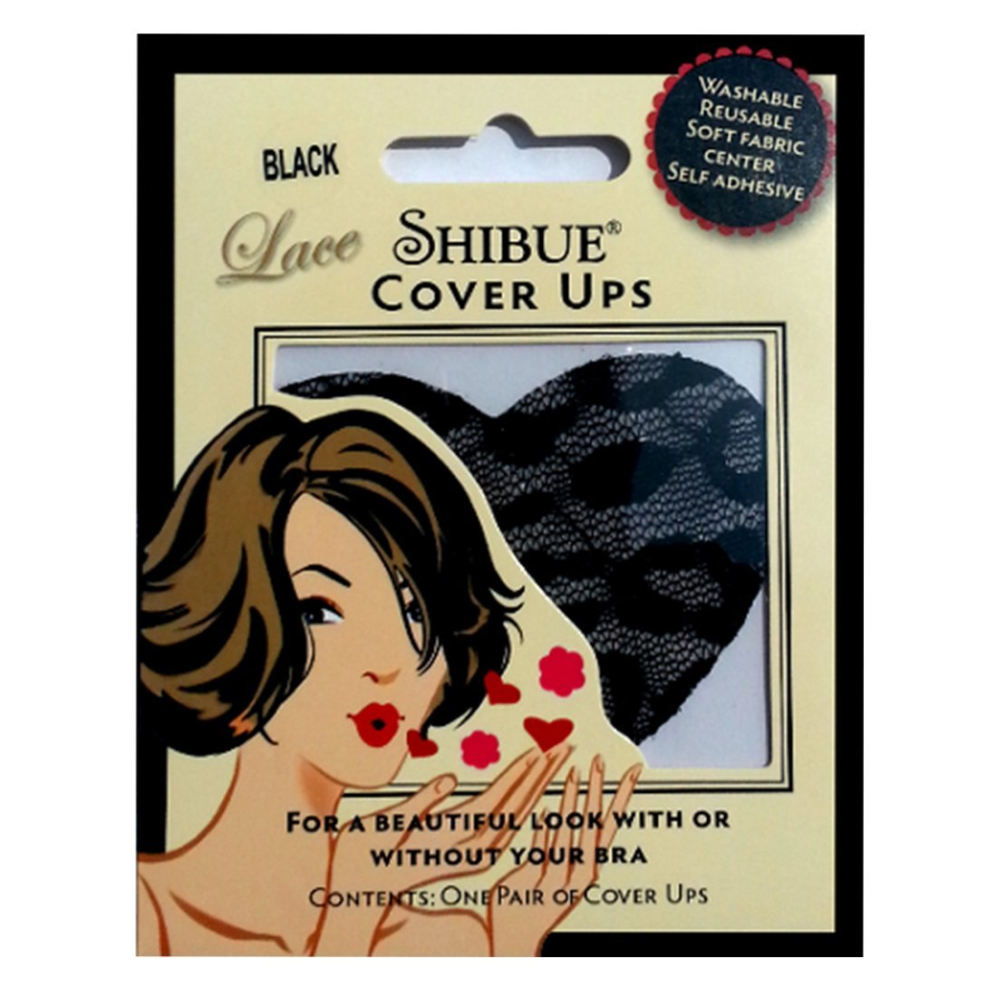 Shibue Couture Lace Heart Nipple Cover Ups (Black)