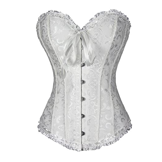 2d1985dee10 TRAINER SECRET Women s Overbust Corset Bustier White Lace Up Boned Sexy  Bodyshaper with G-String