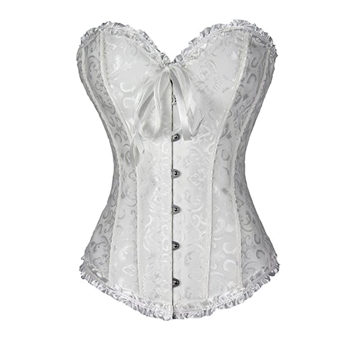 4e5738e716 TRAINER SECRET Women s Overbust Corset Bustier White Lace Up Boned Sexy  Bodyshaper with G-String