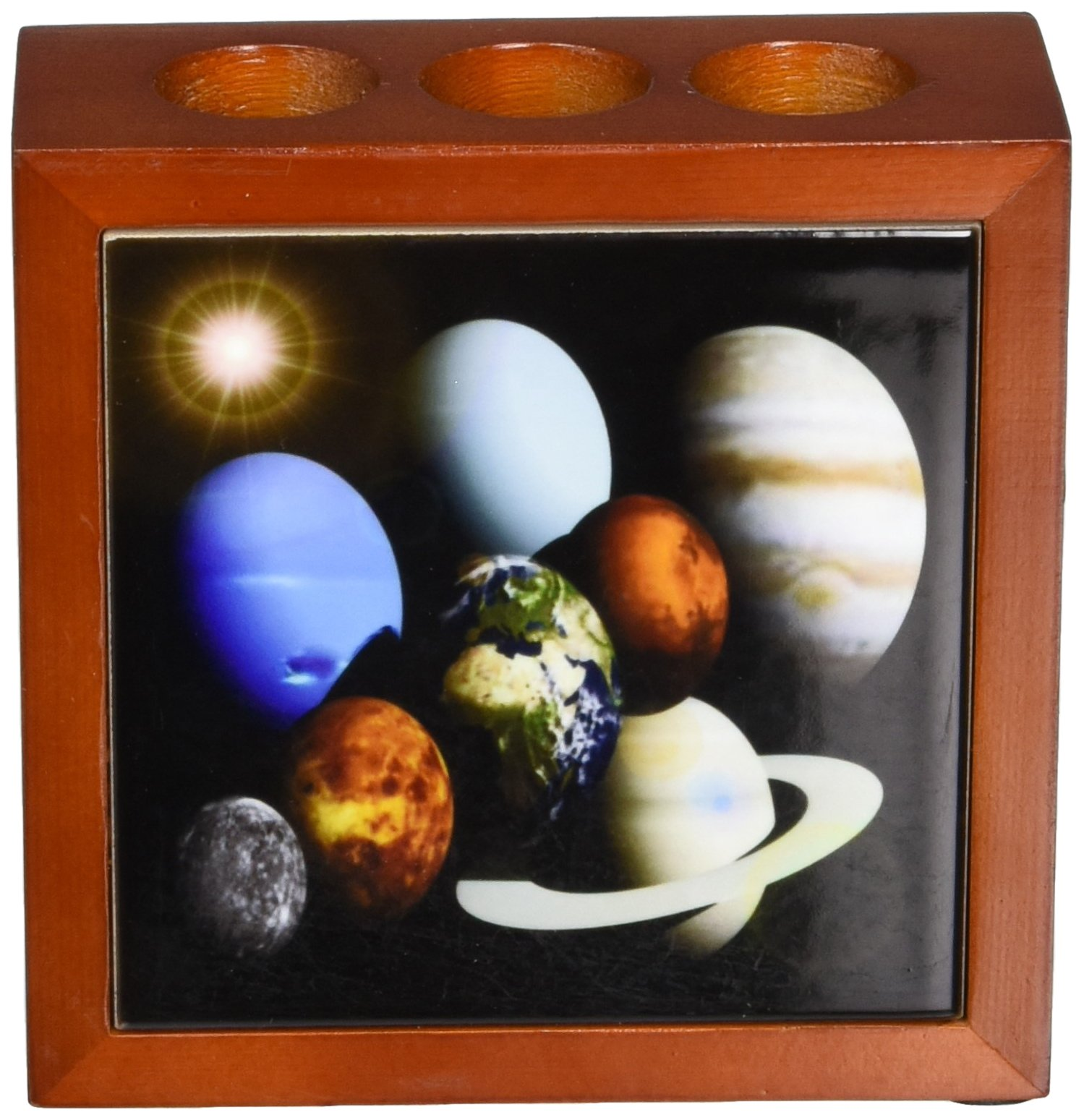 Rikki Knight Solar System Planets Design  Inch Tile Wooden Tile Pen Holder