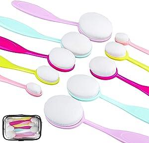 Cooraby 10 Pack Craft Ink Blending Brushes Colorful Ink Blending Brushes with Color Handles New Makeup Brushes Blender Brushes for Craft Broad Application Blending Paper Crafter