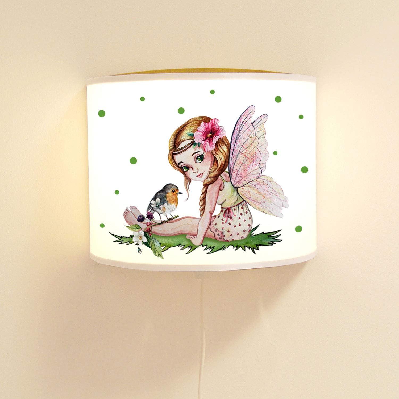 *holzfarben* ilka parey wandtattoo-welt Kinderlampe Wandlampe Elfe Fee /& Vogel Elfenlampe Lampe Wichtel Motivlampe M/ädchen ls101 ausgew/ählte Farbe Lampe