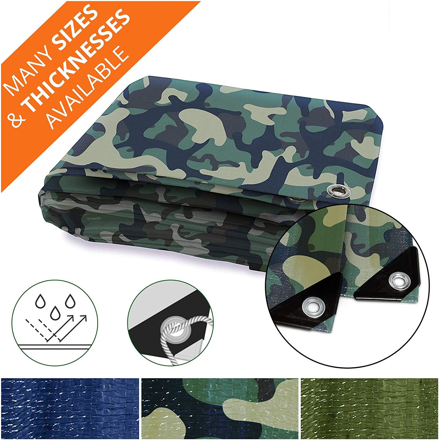Heavy Duty Tarps | Waterproof Ground Tent Trailer Cover | Multilayered Tarpaulin in Many Sizes and Thicknesses | 6 Mil - Camo - 14' x 16'